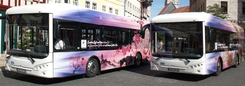 Vollfolierte Elektrobusse für Salza Tours in Bad Langensalza