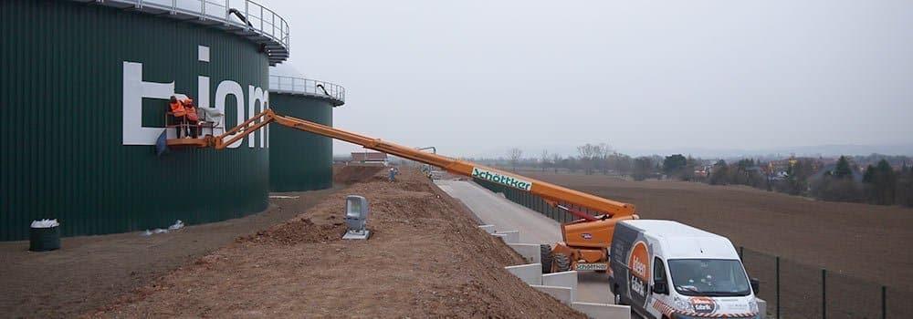 Riesige Silo-Werbeanlage für Energieversorgung Nordhausen (EVN)