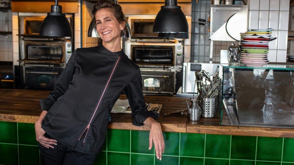 Damen-Kochjacke mit Kontrast-Reißverschluss / Regular Fit - 5409