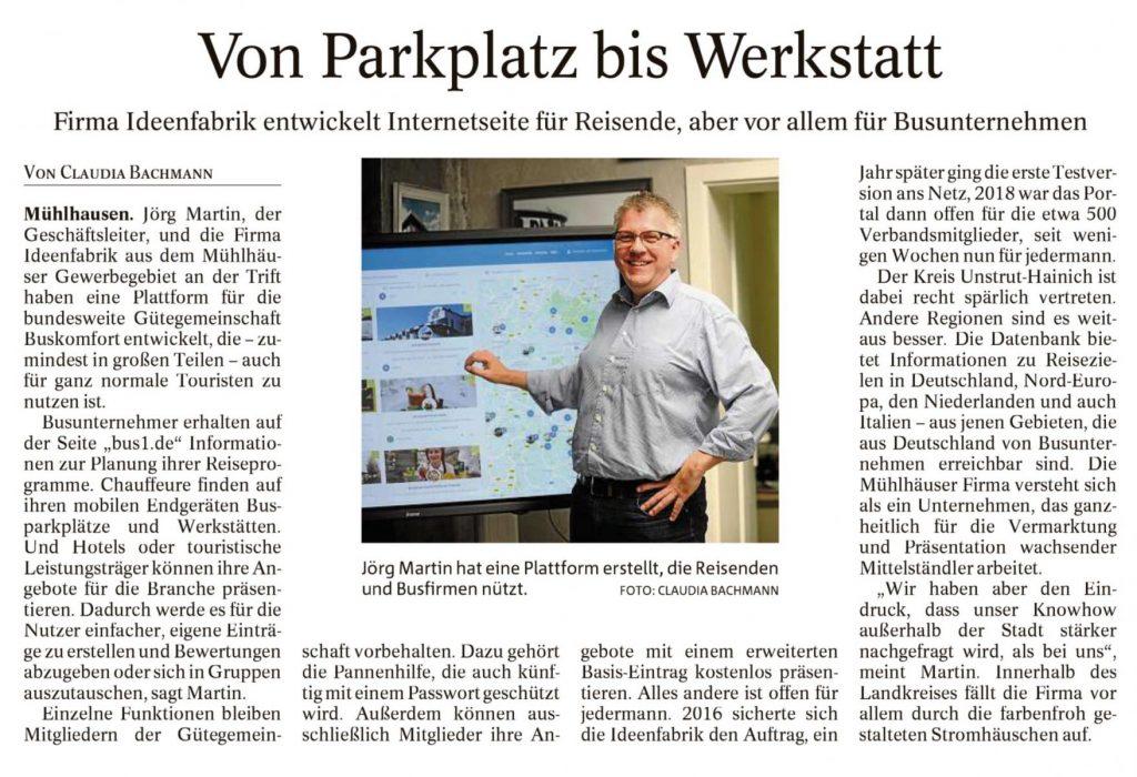 """Thüringer Allgemeine schreibt über Ideenfabrik-Projekt """"bus1.de"""""""