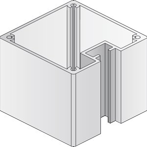 BERLIN Basic Pfosten, quadratisch, 6,6 x 6,6 cm, 1 Nut