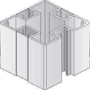 BERLIN Basic Pfosten, quadratisch, 6,6 x 6,6 cm, 1-4 Nuten 90°
