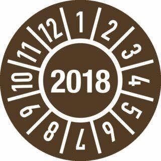 Prüfplakette Jahr 2018 mit Monaten, Folie, Ø 15 mm, 10 Stück/Bogen