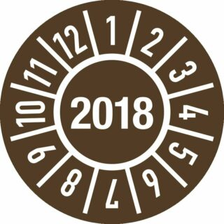 Prüfplakette Jahr 2018 mit Monaten, Folie-Spezialkleber, Ø 15 mm, 10 Stück/Bogen
