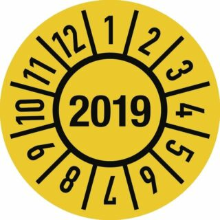 Prüfplakette Jahr 2019 mit Monaten, Dokumentenfolie, Ø 20 mm, 10 Stück/Bogen