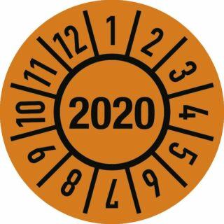 Prüfplakette Jahr 2020 mit Monaten, Folie-Spezialkleber, Ø 30 mm, 10 Stück/Bogen