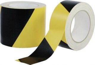 Gewebewarnband, Zellwollgewebe, PE beschichtet, gelb/schwarz, 100 mm x 50 m