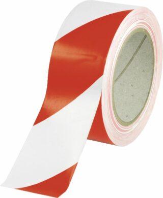 Fußboden-Warnmarkierung linksweisend, Folie, Rot-Weiß, Rolle 50 mm x 33 m