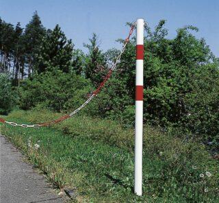 Absperrpfosten STANDARD ohne Ösen, Stahl, weiß/rot,1000 mm Höhe ü. Flur, Ø 60 mm