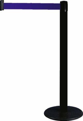 Gurt-Absperrpfosten GLA 28 schwarz, Kunststoff, 1000 mm Höhe, Gurt 2,3 m blau