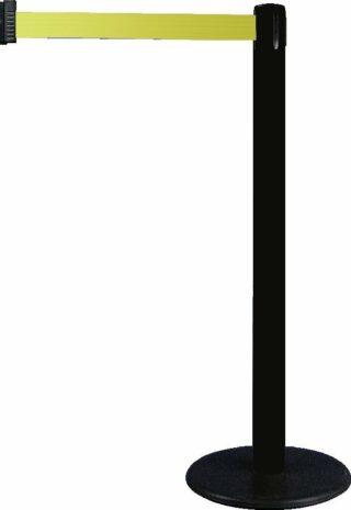 Gurt-Absperrpfosten GLA 28 schwarz, Kunststoff, 1000 mm Höhe, Gurt 2,3 m gelb