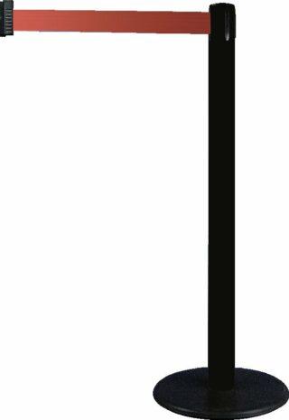 Gurt-Absperrpfosten GLA 28 schwarz, Kunststoff, 1000 mm Höhe, Gurt 2,3 m rot