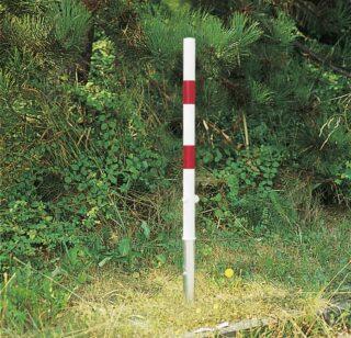 Absperrpfosten PASSAU, Stahl feuerverzinkt, weiß/rot, 1000 mm Höhe über Flur