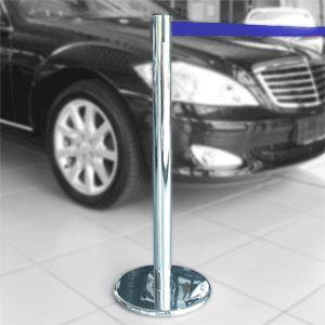 Gurt-Absperrpfosten GLA 45 chrom, Stahl, 1000 mm Höhe, Gurt 2,3 m blau