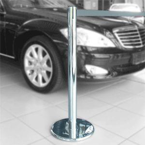 Gurt-Absperrpfosten GLA 45 chrom, Stahl, 1000 mm Höhe, Gurt 2,3 m grau