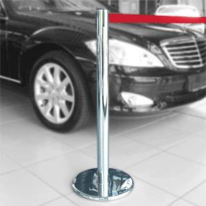 Gurt-Absperrpfosten GLA 45 chrom, Stahl, 1000 mm Höhe, Gurt 2,3 m rot