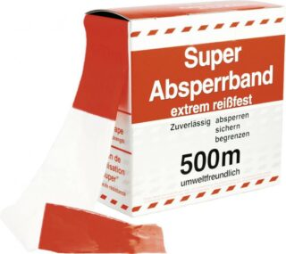 Absperrband, PE-Folie, rot/weiß, 80 mm Breite, 500 m Länge