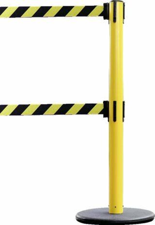Dualer Gurt-Absperrpfosten GLA 95 gelb, Stahl,1000 mm Höhe,Gurt 4 m gelb/schwarz