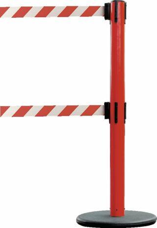 Dualer Gurt-Absperrpfosten GLA 95 rot, Stahl, 1000 mm Höhe, Gurt 4 m rot/weiß