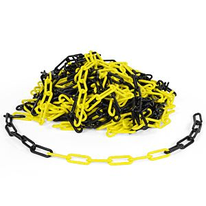 Kunststoffkette, Polyethylen, gelb/schwarz, 6 mm, Meterware