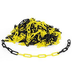 Kunststoffkette, Polyethylen, gelb/schwarz, 8 mm, Meterware