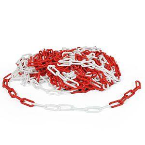 Kunststoffkette, Polyethylen, rot/weiß, 8 mm, Meterware