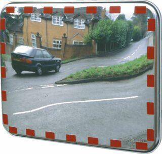 Industriespiegel mit roten Reflexmarkierungen, Acrylglas, 600x400 mm
