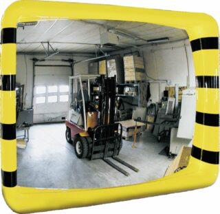 Industriespiegel gelb/schwarz, Acrylglas, 500x300 mm