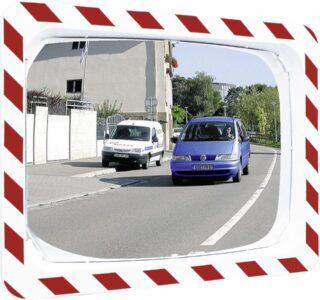 Verkehrsspiegel Unzerbrechlich,Kunststoff weiß mit rot refl. Mark., 600x400 mm