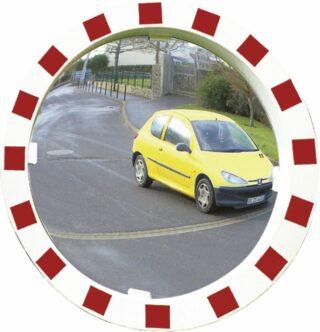 Verkehrsspiegel Unzerbrechlich,Kunststoff weiß mit rot refl. Markierung,Ø 600 mm
