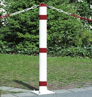 Absperrpfosten mit Kettenkopf und Bodenplatte zum Aufschraub.,Ø 60mm,Länge 900mm