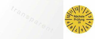 Kabelprüfplakette Nächste Prüfung 2019, Folie, gelb, 60x25 mm, 10 Stück/Bogen