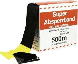 Absperrband gelb/schwarz, PE-Folie, 500 m Länge