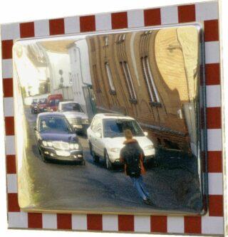 Verkehrsspiegel aus Edelstahl, voll retroreflekt. rot/weißer Rand, 600x400 mm