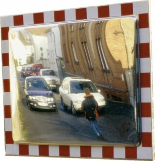 Verkehrsspiegel aus Edelstahl, voll retroreflekt. rot/weißer Rand, 800x600 mm