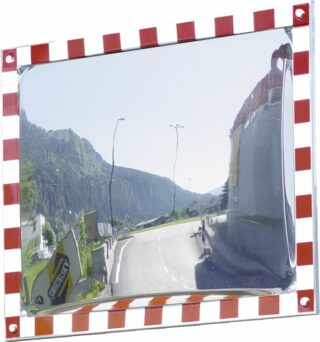 Verkehrsspiegel vereisungsfrei, Edelstahl,voll retrorefl. r/w Rand, 800x600 mm