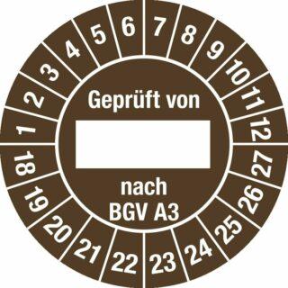 Plakette Geprüft von nach BGV A3 2018-2027,Dokumentenfolie,Ø 30 mm, 10 Stk./Bog.