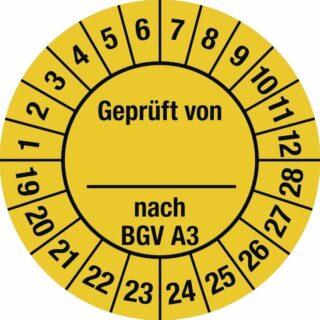 Plakette Geprüft von nach BGV A3 2019-2028,Dokumentenfolie,Ø 25 mm, 10 Stk./Bog.