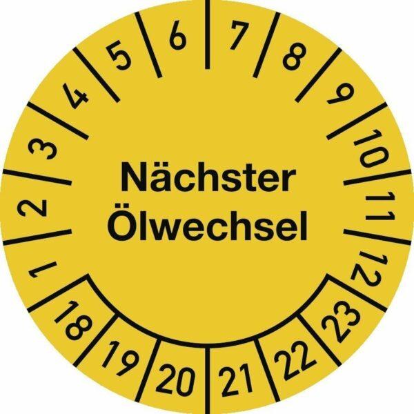 Prüfplakette Nächster Ölwechsel 2018-2023,Dokumentenfolie,Ø 25 mm,10 Stück/Bogen