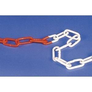 Stahlkette feuerverzinkt, rot/weiß, Kettenglied 53x23x6 mm, Meterware