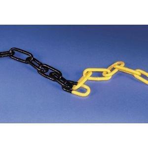 Stahlkette feuerverzinkt, gelb/schwarz, Kettenglied 53x23x6 mm, Meterware