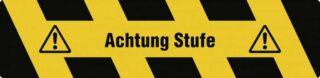 """""""Trittschutz """"""""Achtung Stufe"""""""", Alu, selbstklebend, Antirutsch, 150x610 mm"""""""