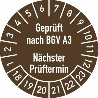Prüfplakette Geprüft nach... 2018 - 2023, Dokumentenfolie, Ø 30 mm, 10 Stk./Bog.
