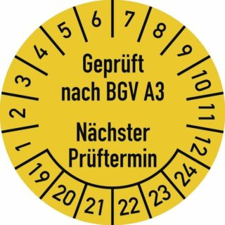 Prüfplakette Geprüft nach... 2019 - 2024, Folie, Ø 30 mm, 10 Stück/Bogen