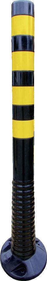 Flexipfosten schwarz mit gelb refl. Streifen, Polyurethan, Ø 80 mm, Höhe 1000 mm