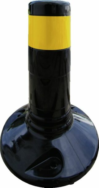 Flexipfosten schwarz mit gelb refl. Streifen, Polyurethan, Ø 80 mm, Höhe 300 mm