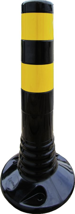 Flexipfosten schwarz mit gelb refl. Streifen, Polyurethan, Ø 80 mm, Höhe 450 mm