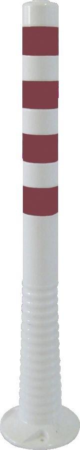 Flexipfosten weiß mit reflekt. Streifen, Polyurethan, Ø 80 mm, Höhe 1000 mm