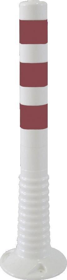 Flexipfosten weiß mit reflekt. Streifen, Polyurethan, Ø 80 mm, Höhe 750 mm