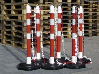 Absperrpfosten-Set rot mit refl. Streifen, Höhe 1000 mm, Ø 63 mm, 6 Pfosten/Set
